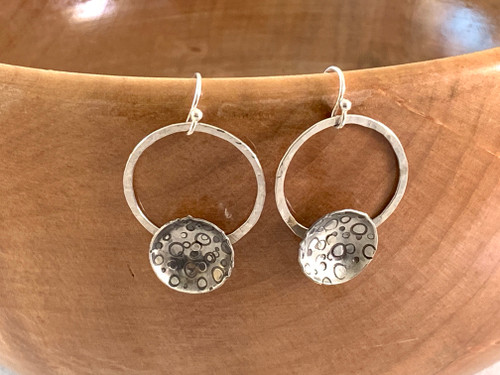 Sterling Silver Hoops with Riveted Bubble Stamped domes