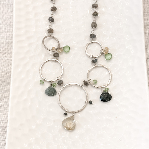 Golden Rule Quartz, Moss Aquamarine, Peridot, Labradorite Necklace