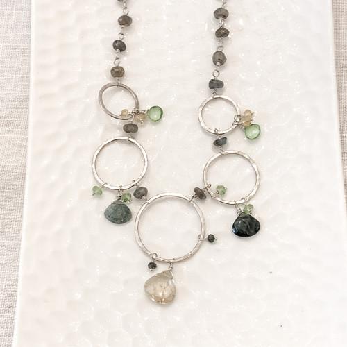Golden Rule Quartz, Moss Aquamarine, Peridot, Labradorite Necklace