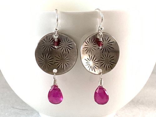 Stamped Round Earrings with Pink Rubies