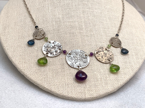 Stamped Disk Necklace with Amethyst, London Blue Topaz, and Peridot