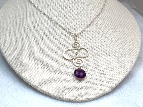Hammered and Sewn Sterling Silver Pendant and Dark Amethyst Necklace