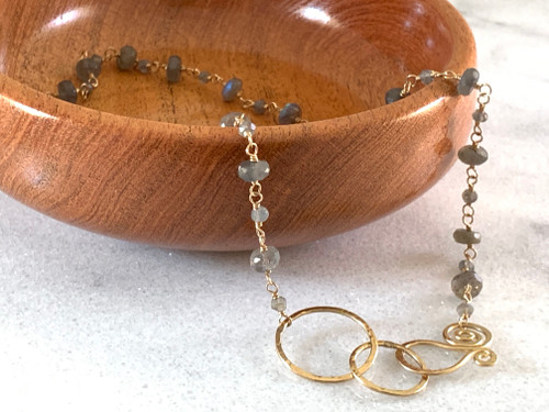 14k Gold Filled Double Hoop Handmade Clasp with Labradorite