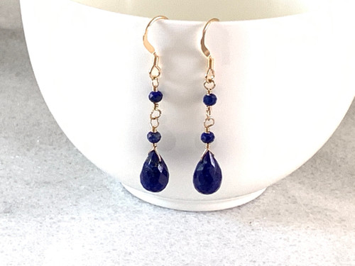 14k Gold Filled Lapis Earrings