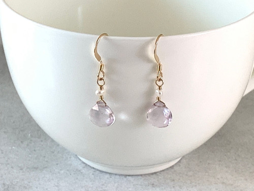 """14k Gold Filled """"Pink"""" Amethyst and Fresh Water Pearl Earrings"""