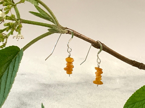 Sterling Silver Earrings with Light Amber Chips