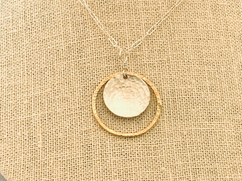 Mixed Pendant Gold Filled Hoop with Cross Texture and Hammered Sterling Silver Disc