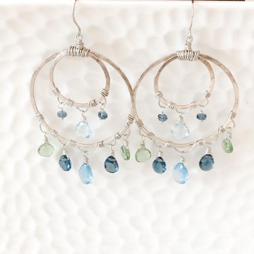 Swiss Blue Topaz, London Blue Topaz, Blue Topaz and Peridot Earrings