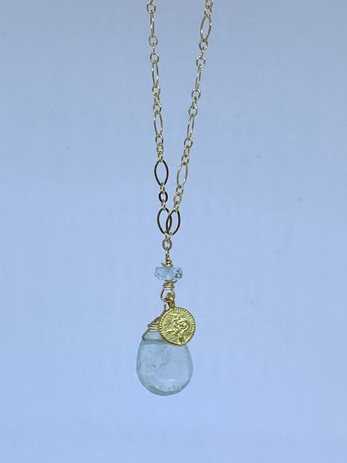 Gold Filled Aquamarine & Turkish Pendant Drop Necklace