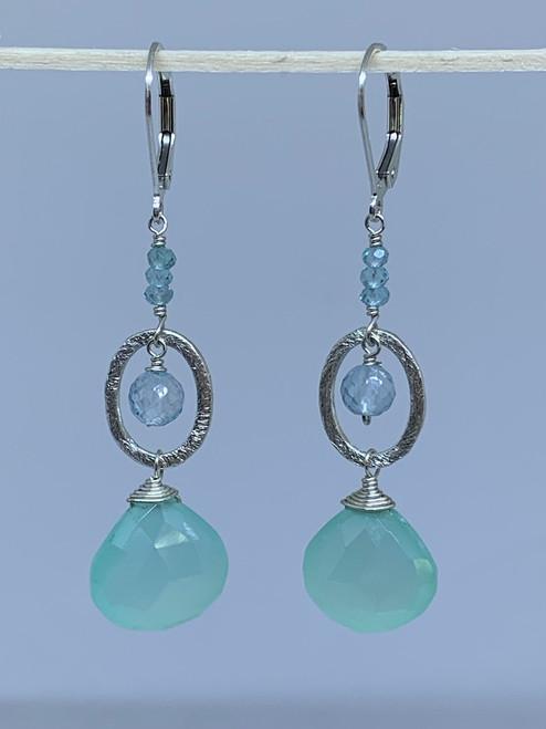 Sterling Silver Chalcedony Brio w/Oval Ring, Blue Topaz & Apatite Earrings