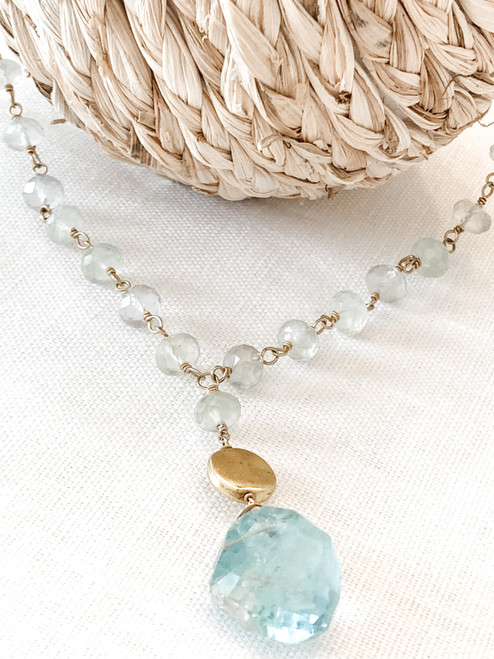 14k Gold Filled Prehnite Chain w/Aquamarine Nugget & Gold Filled Coin Necklace