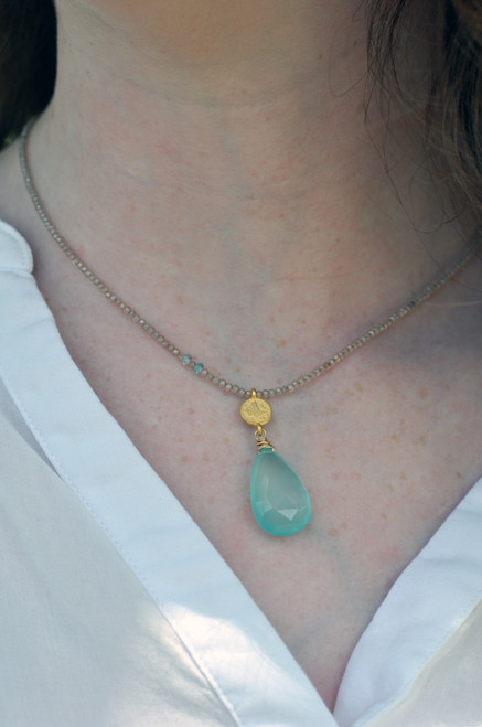 14k Gold Filled Strung Topaz w/Chalcedony Drop & Turkish Coin Necklace