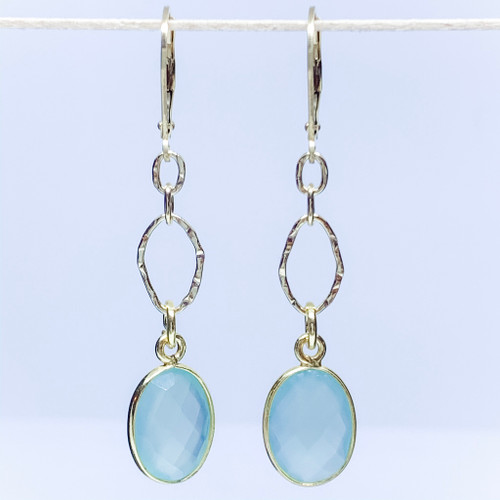14K Gold Filled 10x14mm Bezel Chalcedony Earrings