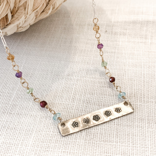 Sterling Silver Flower Bar Necklace - Blue Topaz, Garnet, Peridot, Amethyst, Citrine