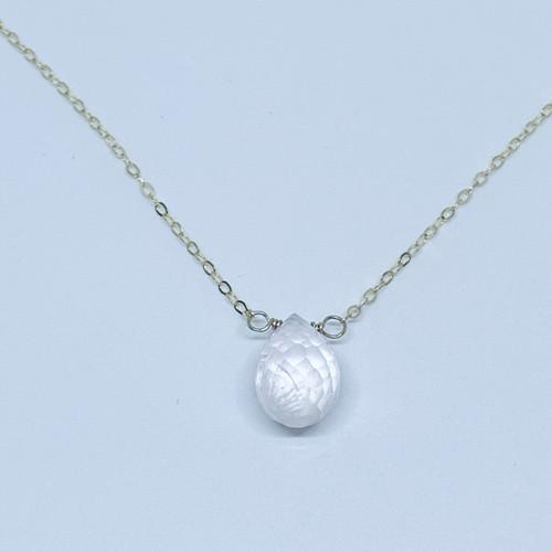 14K Gold Filled Rose Quartz Briolette Necklace (