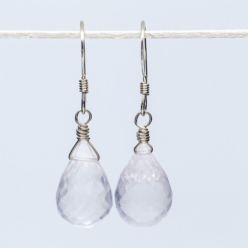 14K Gold Filled Rose Quartz Briolette Earrings