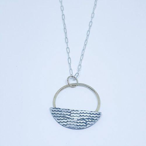 Sterling Silver/14K Gold Filled Gold Hoop with Riveted Wave Stamp Necklace