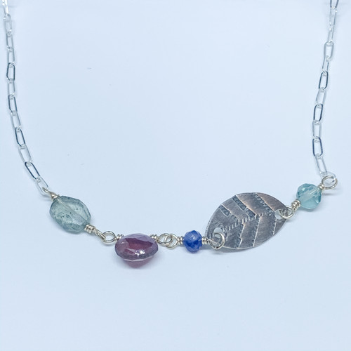 Sterling Silver Leaf Stamp Necklace - Fluorite, Sodalite, Pink Sapphire and moss Aquamarine