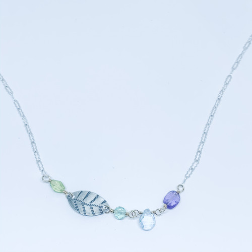 Sterling Silver Leaf Stamp Necklace - Peridot, Flourite, Blue Topaz, Amethyst