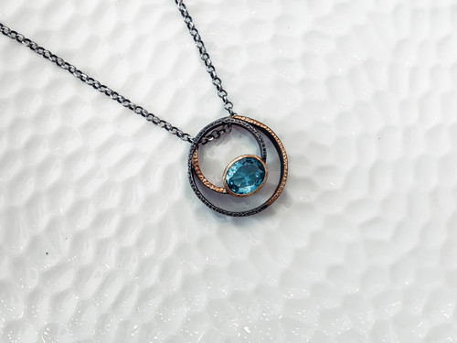 Sterling Silver with Hammered Bronze Accents and Large Blue Topaz Stone Pendant