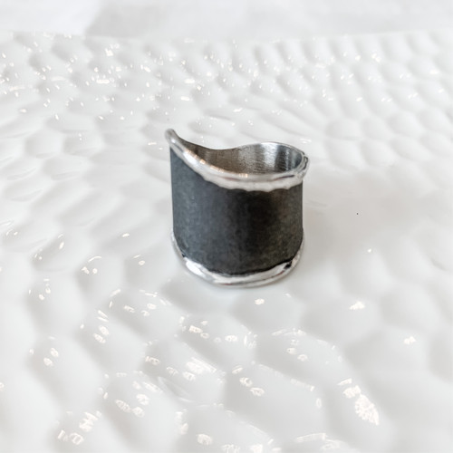 Fine Silver and Rhodium-Plated Handmade Ring