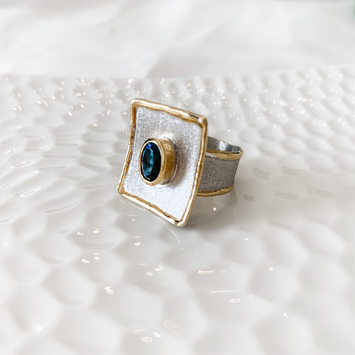 Fine Silver Ring with London Blue Topaz and 24K gold accent