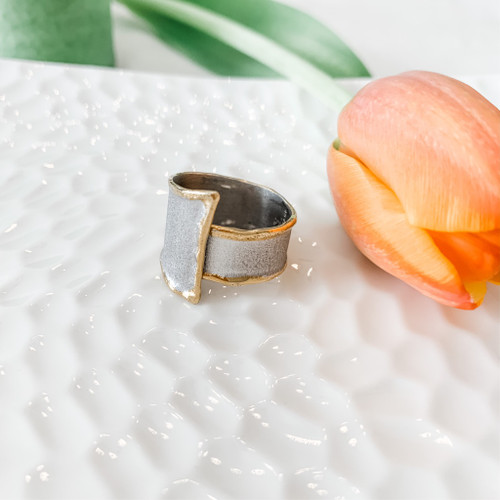 Fine Silver Ring - Adjustable with 24K Gold Accent