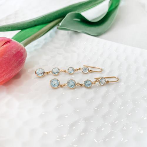 18K Aquamarine Drop Earrings