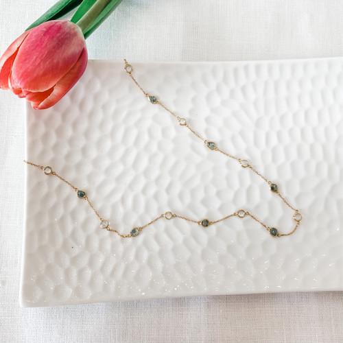 18K Gold Blue Diamond Slice and Rainbow Moonstone Necklace
