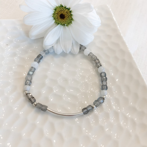 Labradorite and Royal Moonstone and Sterling Silver Bar Bracelet