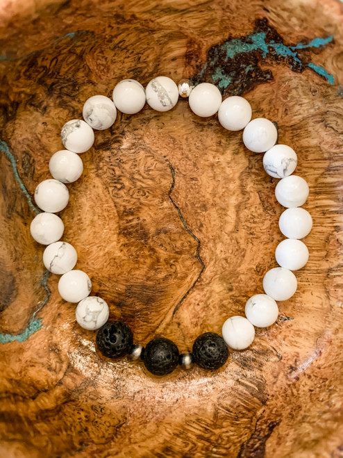 Howlite, Lava and Sterling Silver Navajo Beads Bracelet