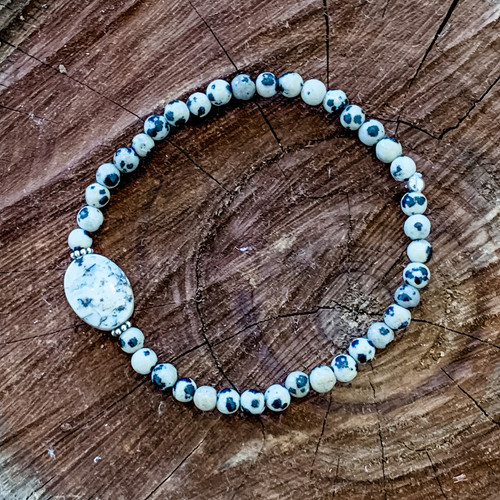 Dalmatian Jasper and White African Opal Bracelet with Sterling Silver Bali Beads.