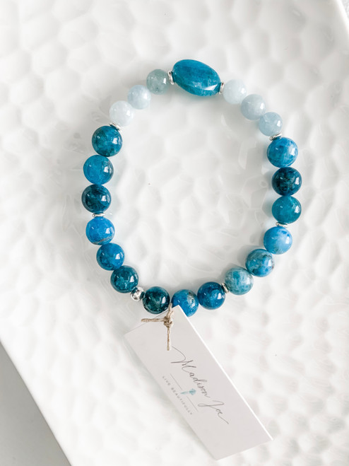 Apatite, Aquamarine, and Sterling Silver Beads Bracelet
