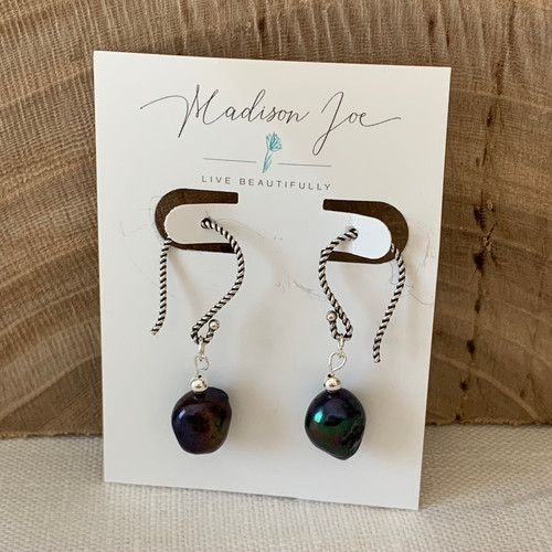 Peacock Pearls and Sterling Silver Earrings