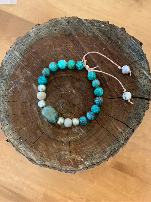 African Turquoise, African Opal, and Chrysocolla Bracelet with Ethiopian Beads and Adjustable Leather Band