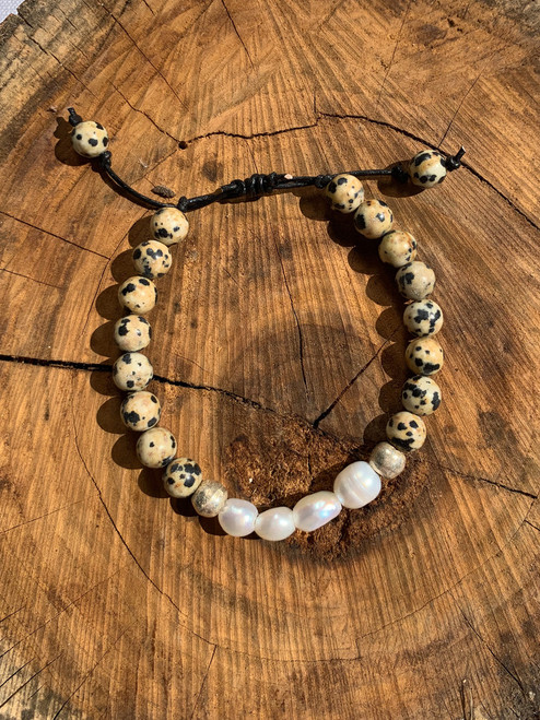 Fresh Water Pearl and Dalmatian Jasper Bracelet with Brass Beads and Adjustable Leather Band