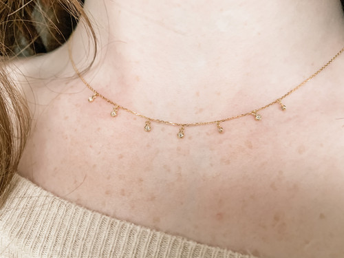 18K Gold Diamond Drop Chain