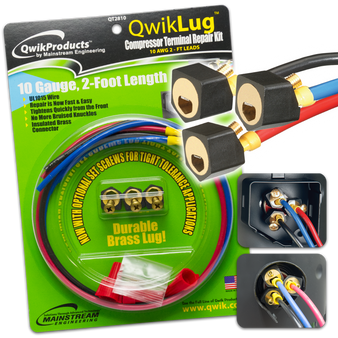 QwikLug: 3 Terminal Repair Lugs 10 AWG, 2ft leads
