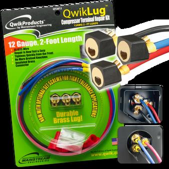 QwikLug: 3 Terminal Repair Lugs 12 AWG, 2ft leads