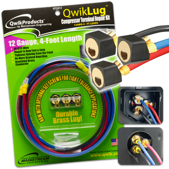 QwikLug: 3 Terminal Repair Lugs 12 AWG, 4ft leads