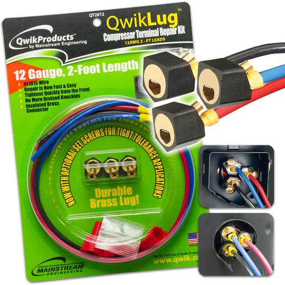 QwikLug: 3 Terminal Repair Lugs 12 AWG, 2ft leads
