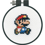 "Dimensions -  Mario Counted Cross Stitch Kit - 3"" Round - Super Mario Bros."
