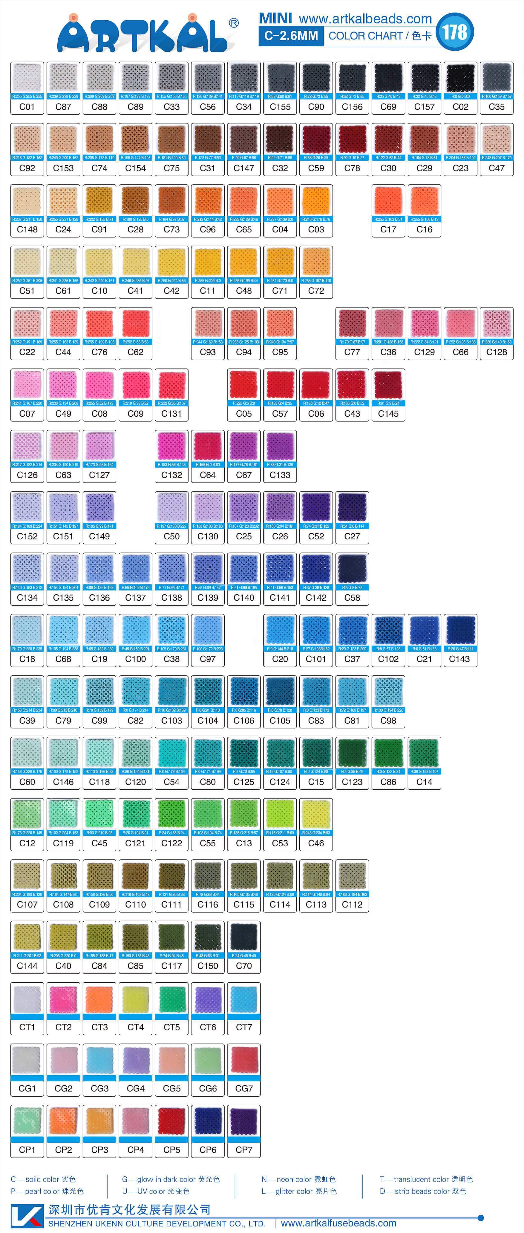 Artkal Colour Chart