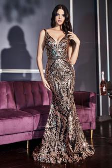 Black Gold Glitter Beaded Mermaid Dress