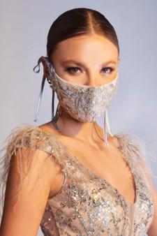 Couture Designer Platinum Beaded Rococo Cosette Fashion Mask