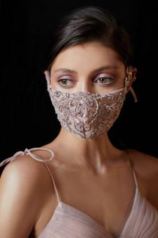 Couture Designer Blush Gold Beaded Rococo Cosette Fashion Mask
