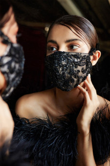 Couture Designer Black-Nude Beaded Rococo Cosette Fashion Mask