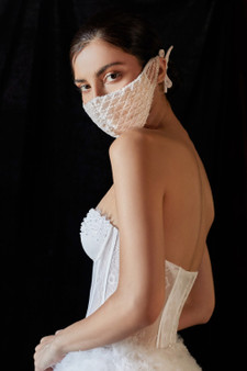 Couture Designer Off White-Nude Beaded Lattice Bernadette Fashion Mask