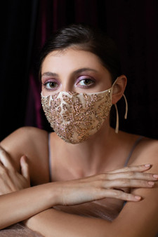 Couture Designer Champagne Gold Beaded Floral Antoinette Fashion Mask