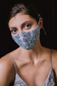 Couture Designer Smoky Blue Beaded Floral Antoinette Fashion Mask